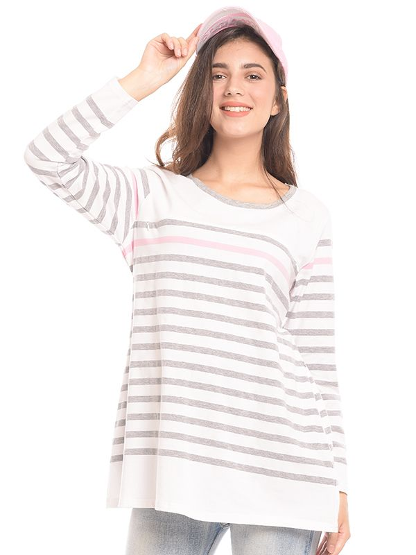 one gallery picture for Striped Long Sleeves Nursing Top Couple Set Baju Hamil & Menyusui Couple Ibu  Anak