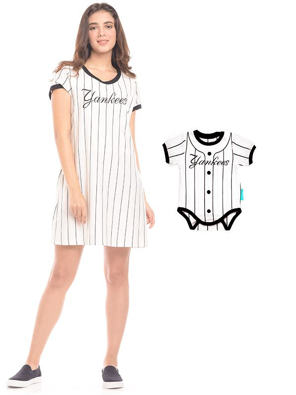one gallery picture for One Piece Vertical White Striped Maternity & Nursing Dress Baju Hamil & Menyusui