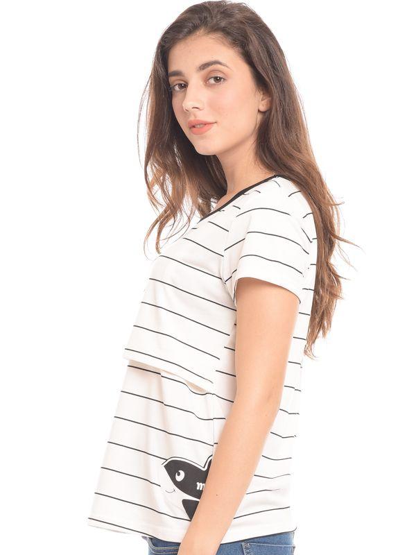 one gallery picture for White Stripes Short Sleeves Nursing Top Couple Set Baju Hamil & Menyusui Couple Ibu Anak
