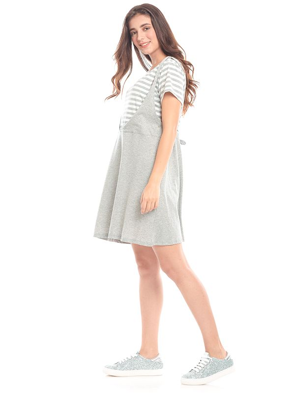one gallery picture for Grey Stripped In Short Sleeves Nursing Dress Baju Hamil & Menyusui