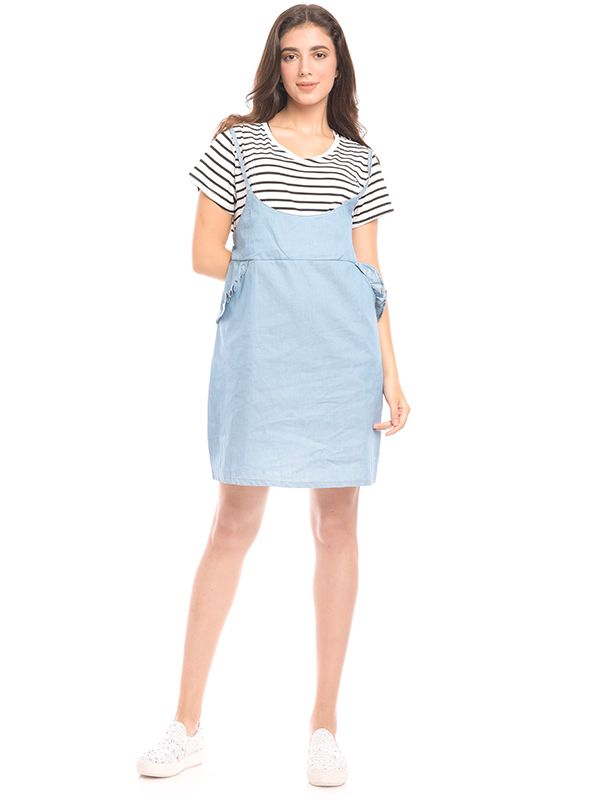 one gallery picture for 2 Piece Stripes Denim Nursing Dress Baju Hamil & Menyusui
