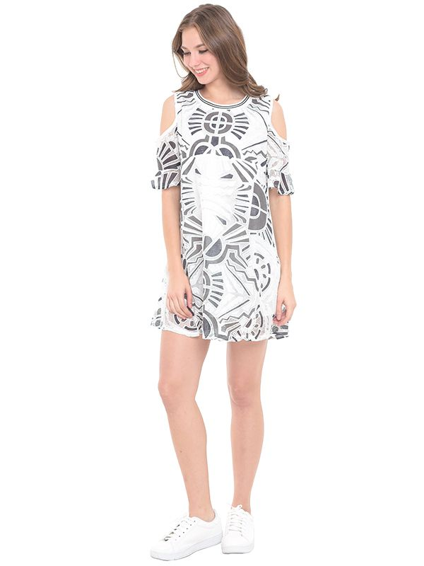 one gallery picture for MOOIMOM Cold Shoulder Abstract Maternity & Nursing Dress