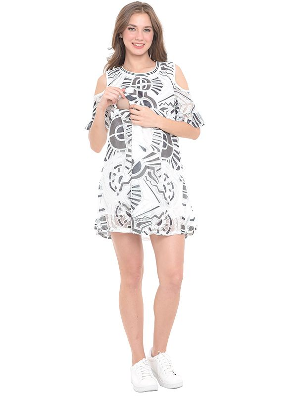 one gallery picture for Cold Shoulder Abstract Maternity & Nursing Dress