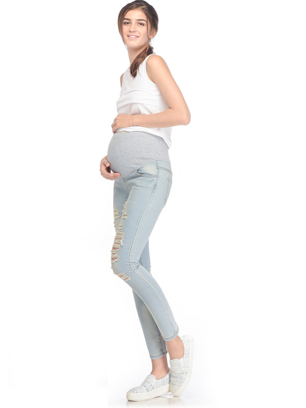 one gallery picture for MOOIMOM Skinny Maternity Jeans with Rips Celana Jeans Hamil