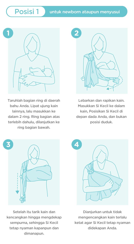 step by step cara menggunakan gendongan bayi