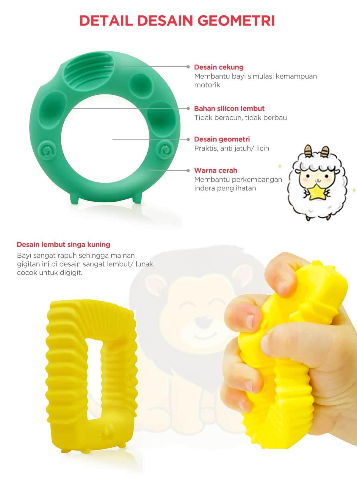 Mombella Educational Geometry Sensory Teether Toy Set - Sheep