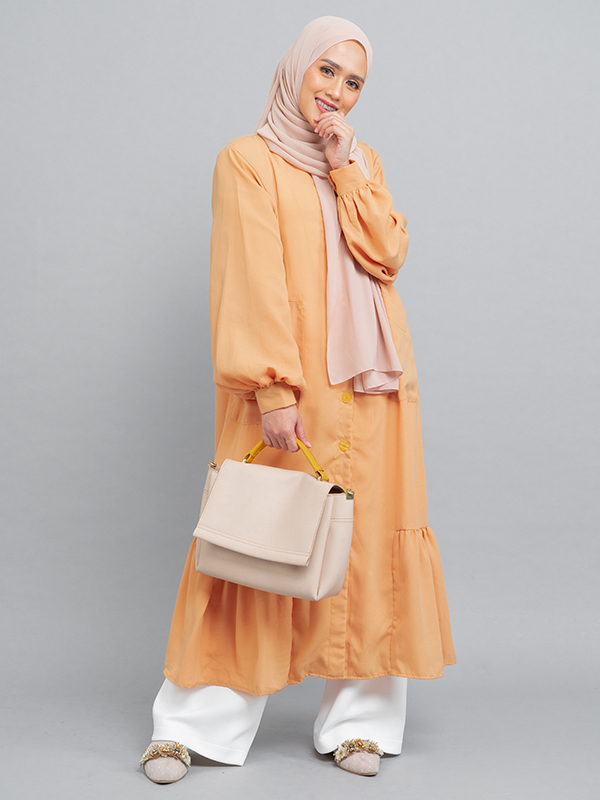 one gallery picture for MOOIMOM Long Button Gamis Dress with Flaire Mustard