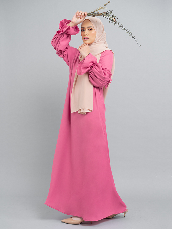 one gallery picture for MOOIMOM Basic Gamis with Ruffles Sleeve Peach
