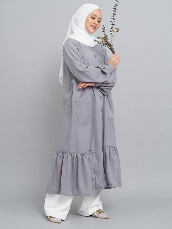 one gallery picture for MOOIMOM Long Button Gamis Dress with Flaire Grey