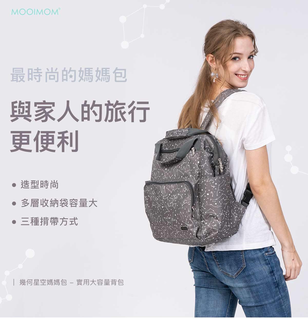媽媽包,幾何星空媽媽包, 實用大容量背包, 幾何星空實用大容量背包, 超大容量,最時尚的媽媽包,與家人的旅行更便利,造型時尚,多層收納袋容量大,三種揹帶方式