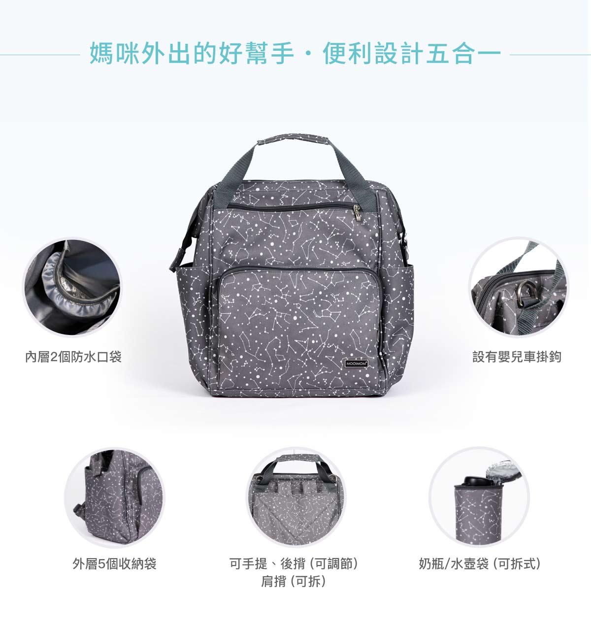 媽媽包,幾何星空媽媽包, 實用大容量背包,幾何星空實用大容量背包, 超大容量,媽咪外出的好幫手,便利設計五合一
