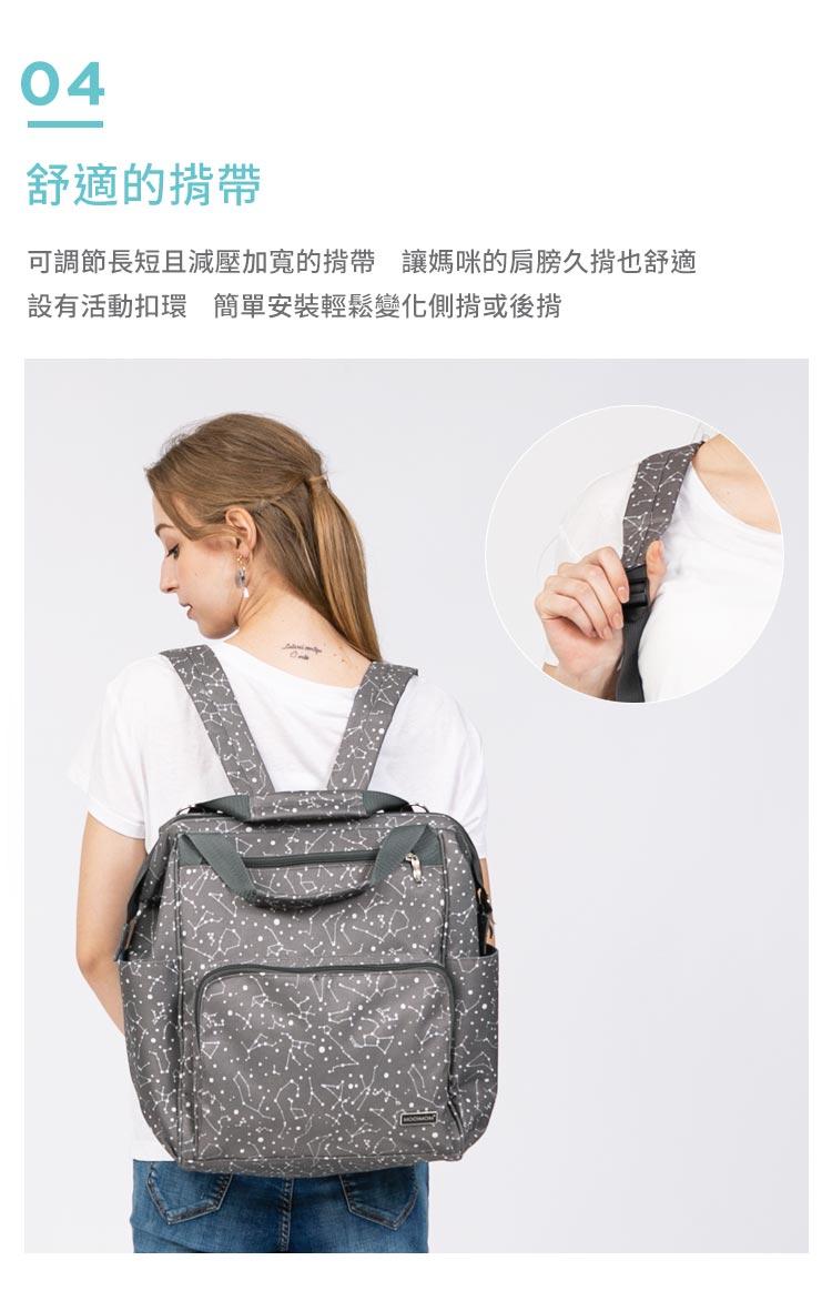 媽媽包,幾何星空媽媽包, 實用大容量背包,幾何星空實用大容量背包,實用大容量背包,超大容量,舒適的揹帶,可調節長短且減壓加寬的揹帶,讓媽咪的肩膀久揹也舒適,設有活動扣環,簡單安裝輕鬆變化測揹或後揹