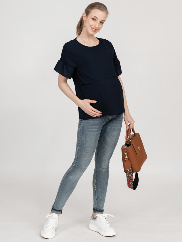 one gallery picture for MOOIMOM Casual Ruflle Sleeve Maternity & Nursing Top - Baju Hamil & Menyusui