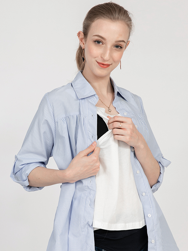 one gallery picture for MOOIMOM Baju hamil & Menyusui Casual Stripe Shirt