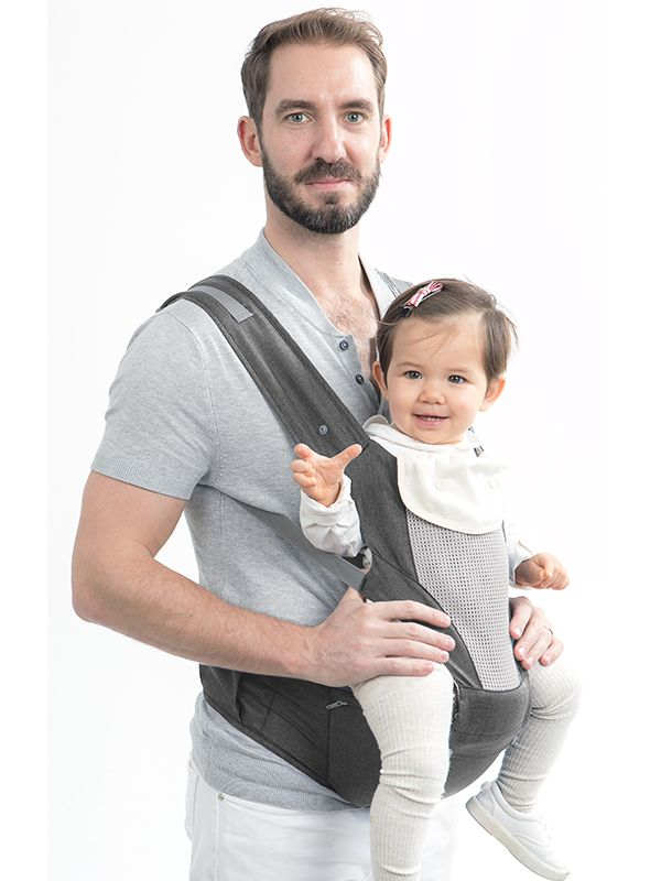 one gallery picture for MOOIMOM Breathable Hipseat Carrier Grey