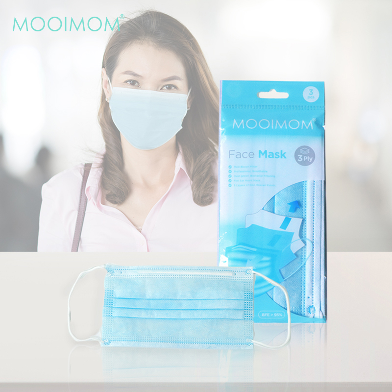 main mobile picture for MOOIMOM Disposable Face Mask 3 Pcs - Masker Sekali Pakai Dewasa