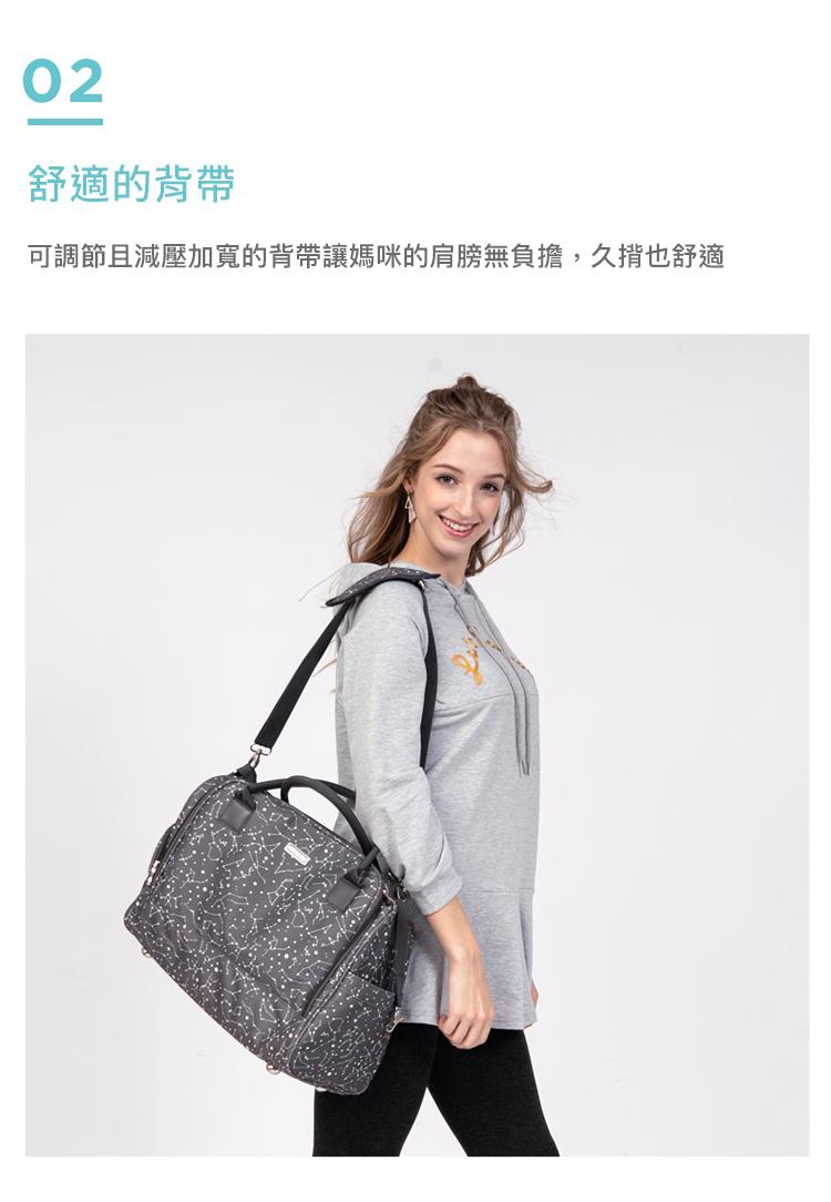媽媽包,幾何星空媽媽包,旅行袋,萬用旅行袋,幾何星空媽媽包萬用旅行袋,舒適的背帶,可調節且減壓加寬的背帶讓媽咪的肩膀無負擔,久揹也舒適