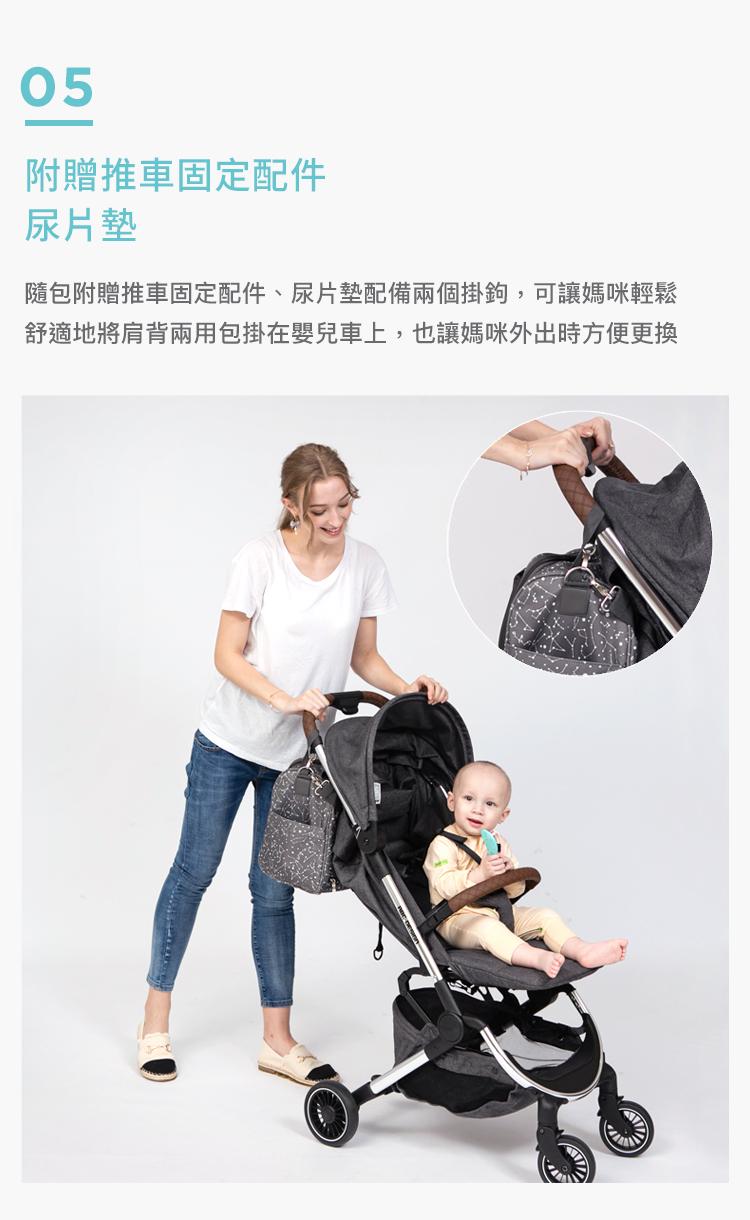 媽媽包,幾何星空媽媽包,旅行袋,萬用旅行袋,幾何星空媽媽包萬用旅行袋,大容量,附贈推車固定配件尿片墊,隨包附贈推車固定配件,尿片墊配備兩個掛鉤,可讓媽咪輕鬆舒適地肩揹兩用包掛在嬰兒車上,也讓媽咪外出時方便更換寶寶的尿布