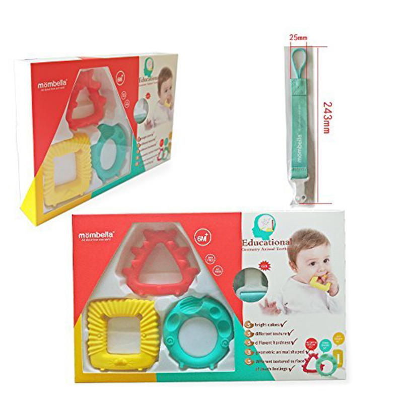 main mobile picture for [MOMBELLA] Educational Geometry Animal Teethers (3pcs)