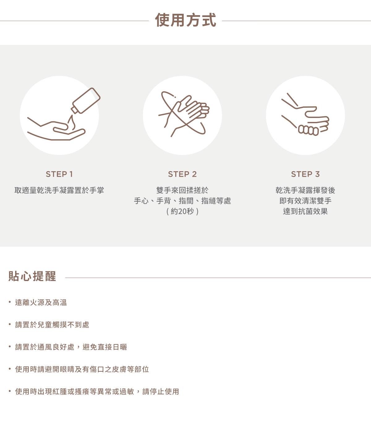 乾洗手,乾洗手凝露,抗菌乾洗手,抗菌乾洗手凝露, Oh My Orange 抗菌乾洗手凝露,使用方式,STEP1,取適量乾洗手凝露置於手掌,STEP2,雙手來回揉搓於手心,手背,指間,指縫等處(約20秒),STEP3,乾洗手凝露揮發後即有效清潔雙手達到抗菌效果,貼心提醒,遠離火源及高溫,請置於兒童觸摸不到處,請置於通風良好處,避免直接日曬,使用時請避開眼睛及有傷口之皮膚等部位,使用時出現紅腫或搔癢等異常或過敏,請停止使用