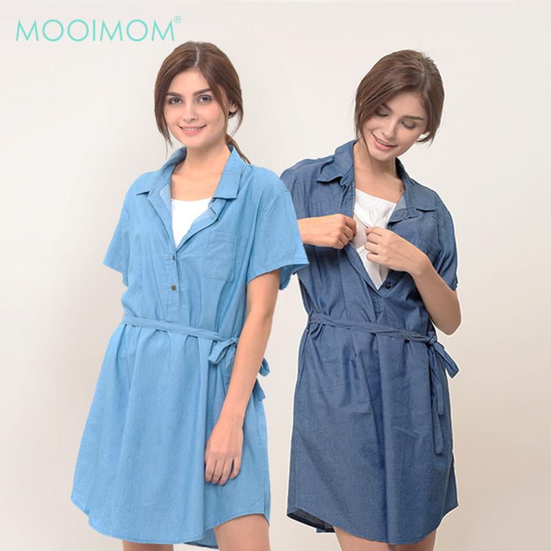 main mobile picture for MOOIMOM Denim Nursing Dress Baju Hamil Menyusui