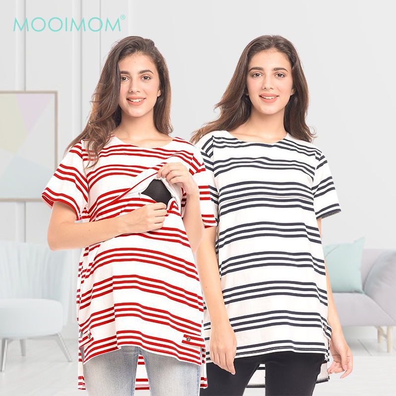 main mobile picture for MOOIMOM Front Stripe Jersey Maternity & Nursing Top Baju Hamil & Menyusui