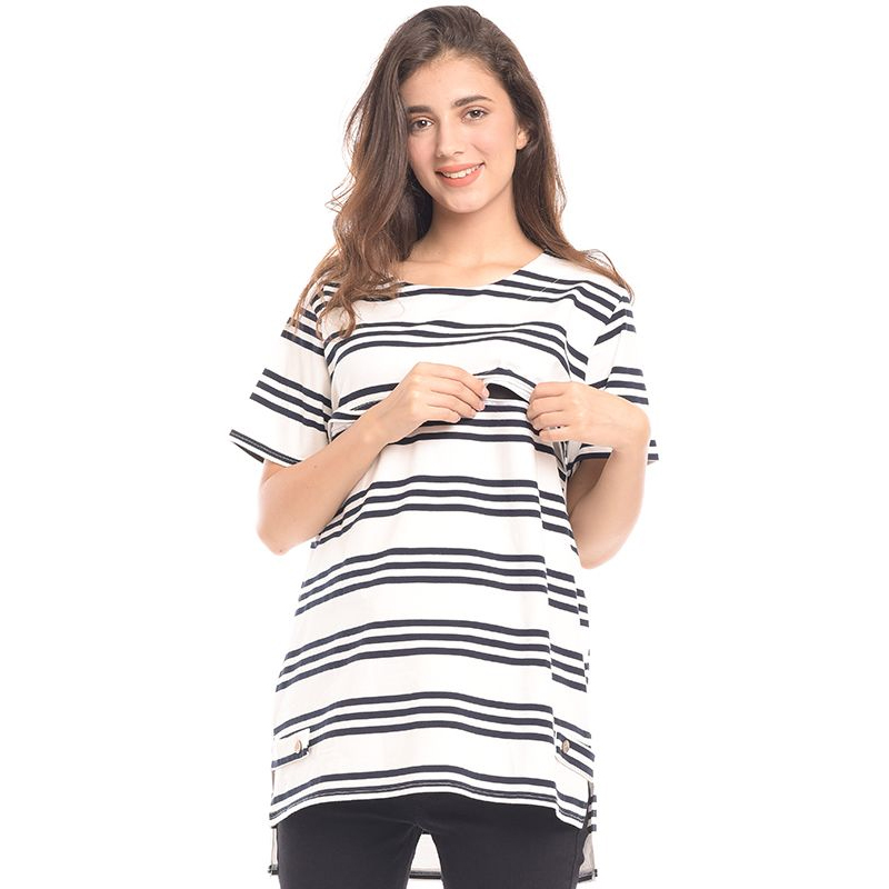 one gallery picture for MOOIMOM Front Stripe Jersey Maternity & Nursing Top Baju Hamil & Menyusui