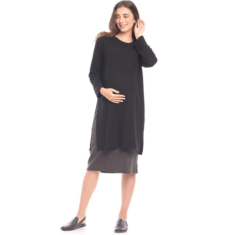 one gallery picture for MOOIMOM Maxi Double Layer Maternity & Nursing Dress Baju Hamil & Menyusui