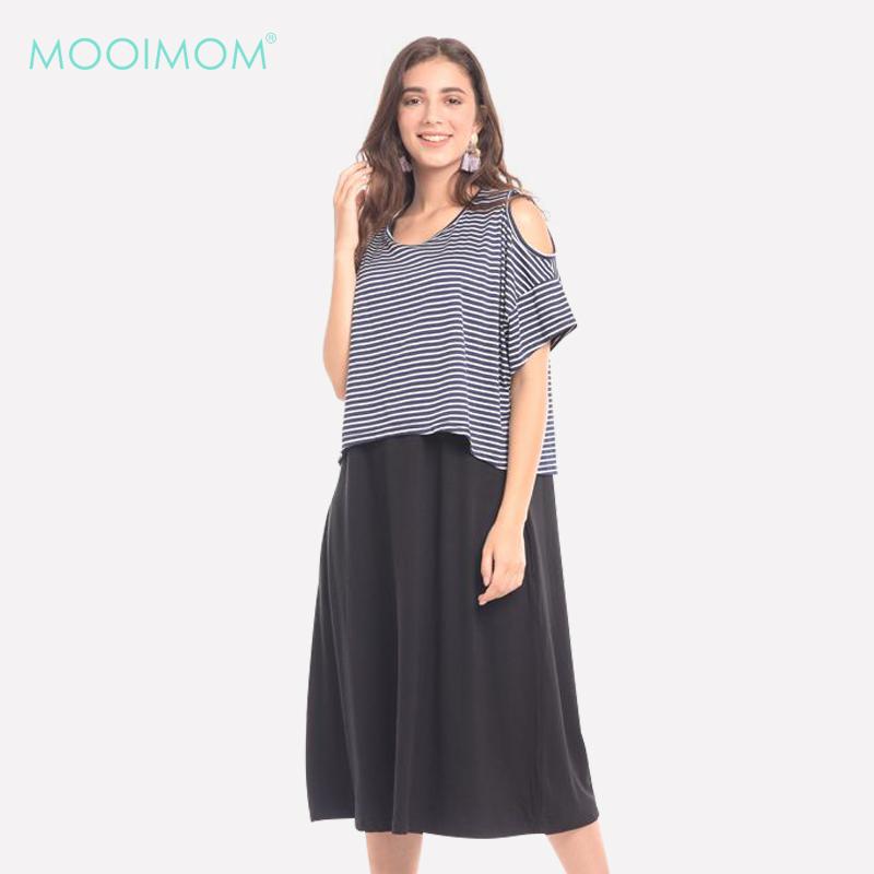 one gallery picture for MOOIMOM Bold Grey In Cold Shoulder Maternity & Nursing Dress Baju Hamil & Menyusui
