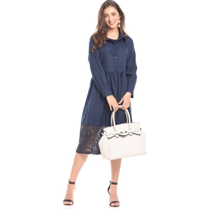 one gallery picture for MOOIMOM Navy Vest With Lace Detail Maternity & Nursing Long Dress Baju Hamil & Menyusui