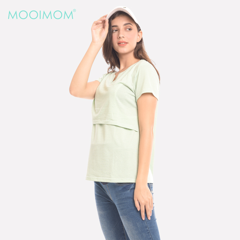 one gallery picture for MOOIMOM Light Green V-Neck Nursing Top Baju Hamil & Menyusui