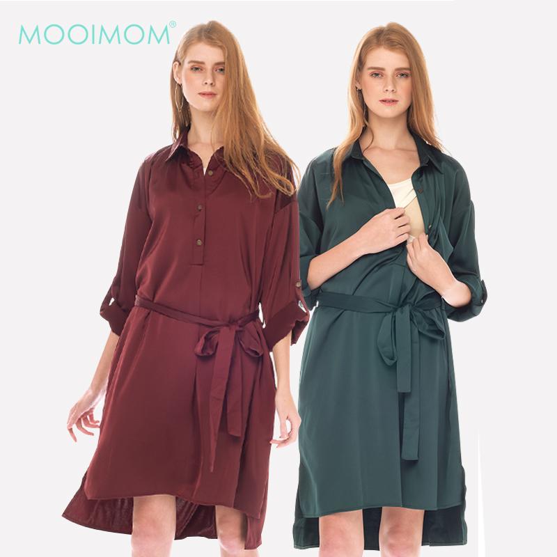 main mobile picture for MOOIMOM Button Up Long Sleeve Maternity & Nursing Dress Baju Hamil Menyusui