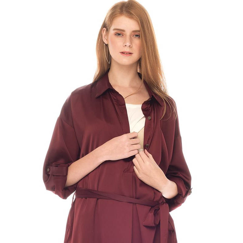 one gallery picture for MOOIMOM Button Up Long Sleeve Maternity & Nursing Dress Baju Hamil Menyusui