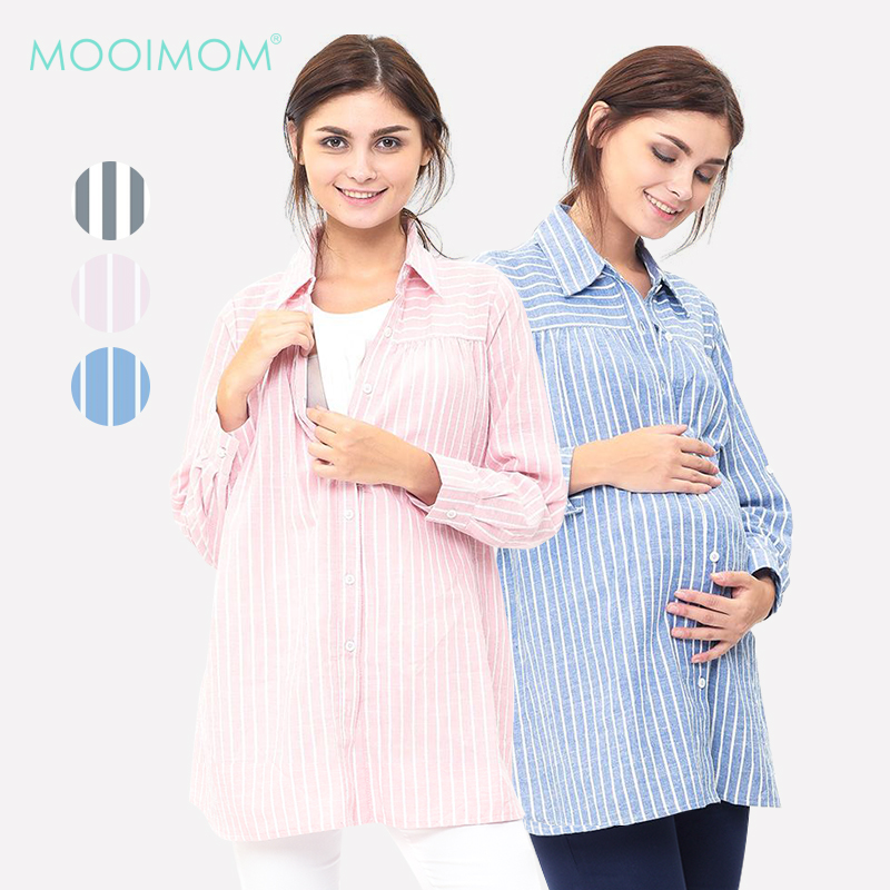 main mobile picture for MOOIMOM Maternity and Nursing Stripe Shirt Baju Hamil Menyusui