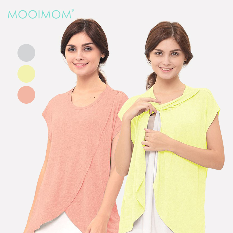 main mobile picture for MOOIMOM Maternity Nursing T-Shirt With Wrap Overlay Baju Hamil Menyusui