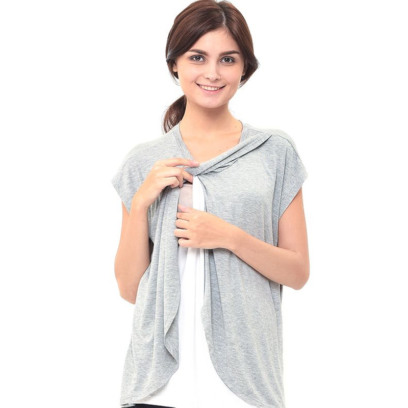 gallery picture of MOOIMOM Maternity Nursing T-Shirt With Wrap Overlay Baju Hamil Menyusui