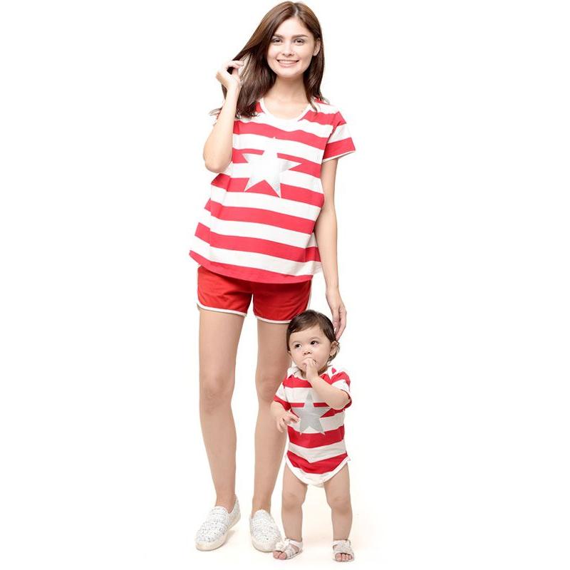 one gallery picture for MOOIMOM Star stripe nursing couple set Baju Hamil Menyusui Couple Ibu Anak