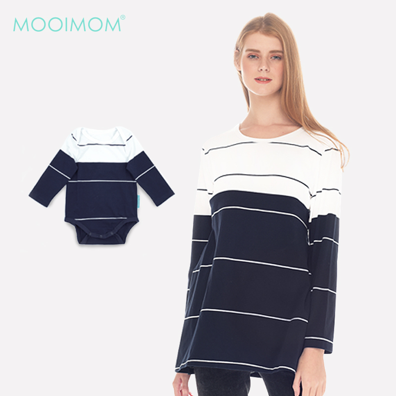 one gallery picture for MOOIMOM Navy & White Striped Cotton Nursing Top Couple Set Baju Hamil Menyusui Couple Ibu Anak