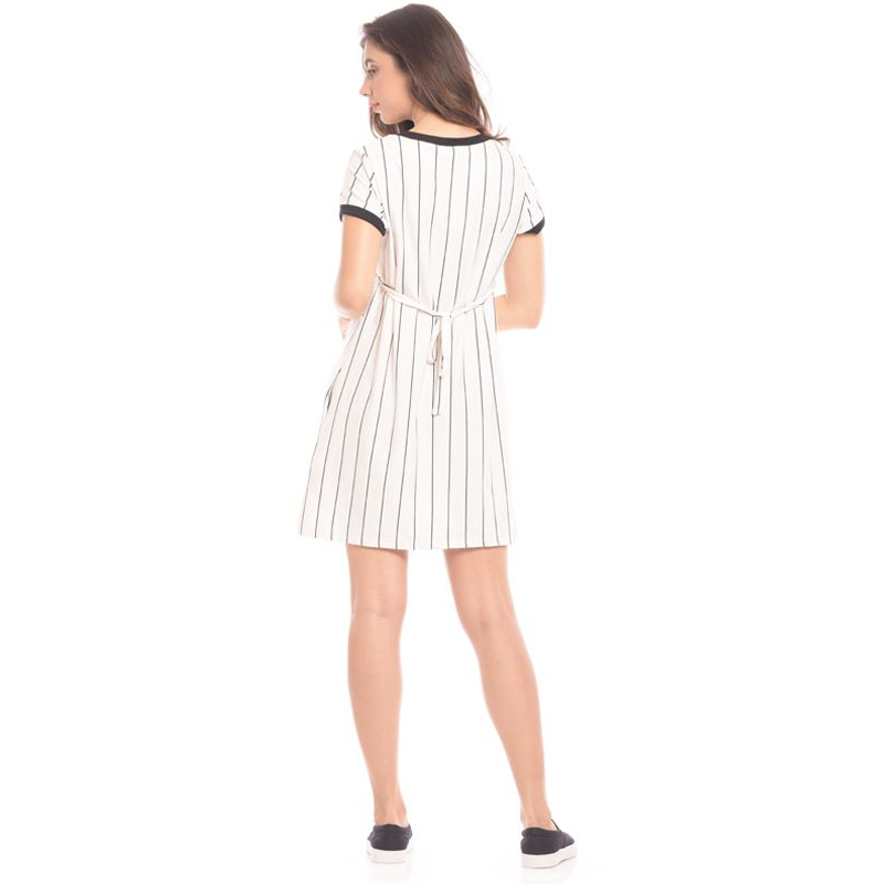 one gallery picture for MOOIMOM One Piece Vertical White Striped Maternity & Nursing Dress Baju Hamil & Menyusui