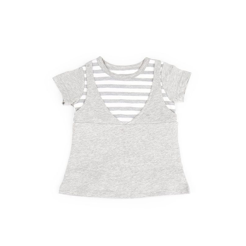 one gallery picture for MOOIMOM Grey Stripped In Short Sleeves Nursing Dress Baju Hamil & Menyusui