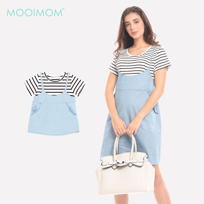 one gallery picture for MOOIMOM 2 Piece Stripes Denim Nursing Dress Baju Hamil & Menyusui