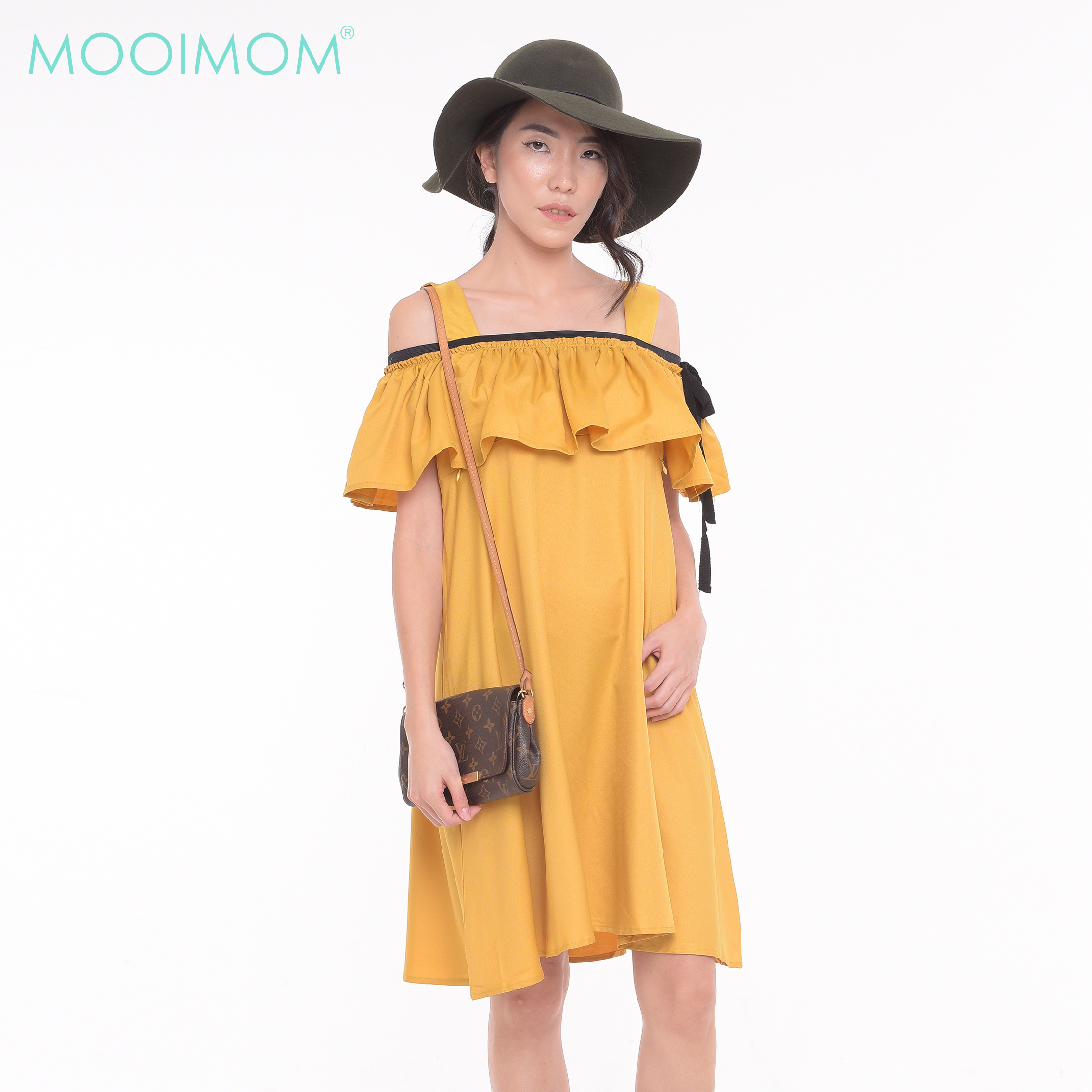 main mobile picture for MOOIMOM Cold Shoulder Ruffled Maternity & Nursing Dress
