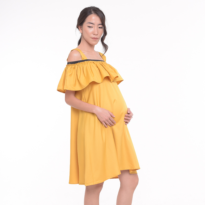 one gallery picture for MOOIMOM Cold Shoulder Ruffled Maternity & Nursing Dress
