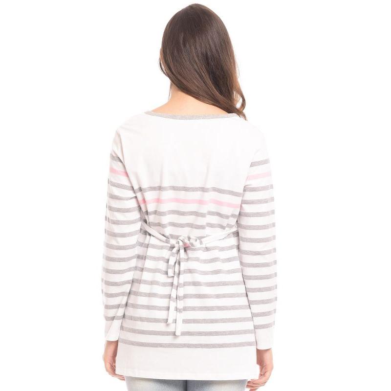 one gallery picture for MOOIMOM Striped Long Sleeves Nursing Top Couple Set Baju Hamil & Menyusui Couple Ibu  Anak