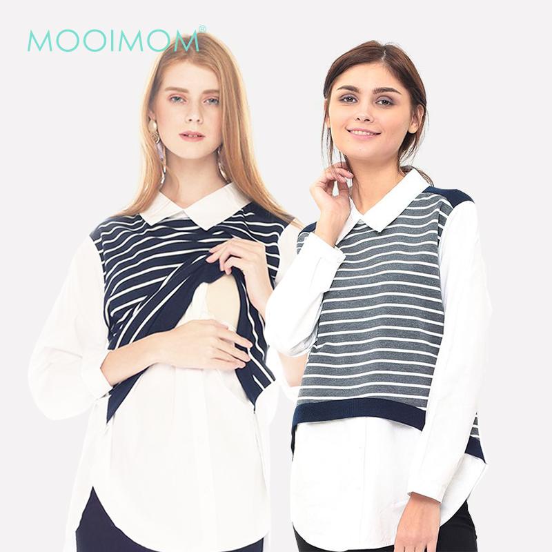 main mobile picture for MOOIMOM Striped Vest Long-Sleeved Nursing Shirt with Collar Baju Hamil Menyusui