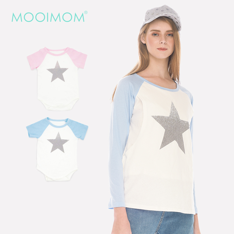 main mobile picture for MOOIMOM Star Long Sleeve Nursing T-shirt Couple Set Baju Hamil Menyusui Couple Ibu Anak