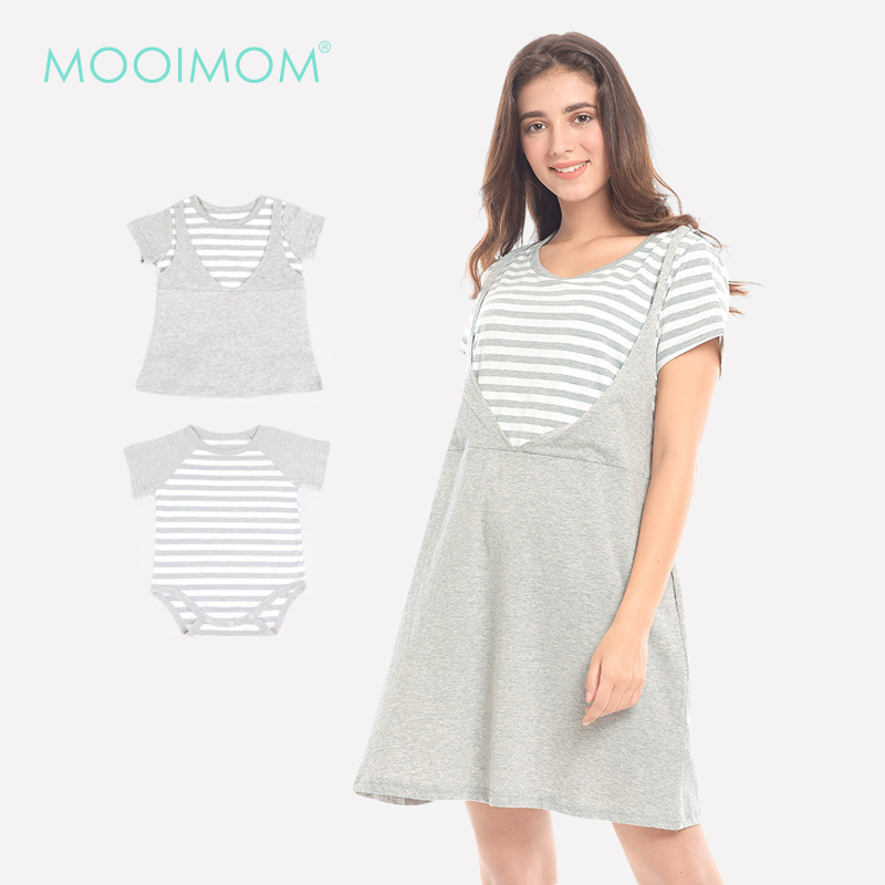 main mobile picture for MOOIMOM Grey Stripped In Short Sleeves Nursing Dress Baju Hamil & Menyusui
