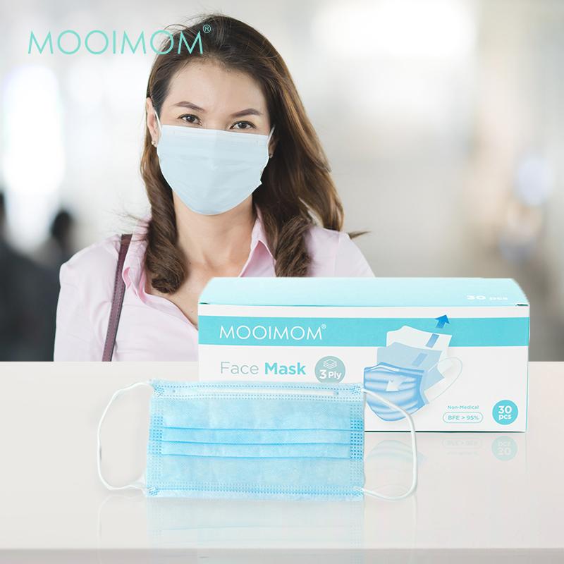 main mobile picture for MOOIMOM Disposable Face Mask 30 Pcs - Masker Sekali Pakai Dewasa