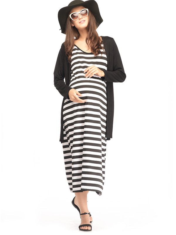 2-Piece Maternity Dress in Black and White Stripe Baju Hamil Menyusui
