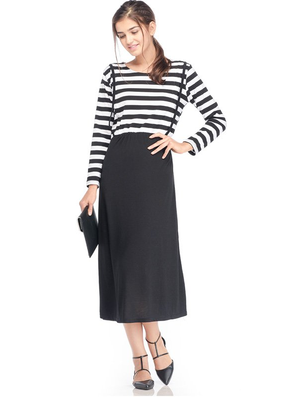 Maternity & Nursing Bib Dress in Stripe with Long Sleeves Baju Hamil Menyusui